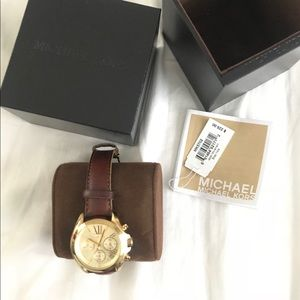 MICHAEL KORS CHRONO GOLD WATCH LEATHER STRAP $225